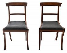 A SET OF SEVEN REGENCY MAHOGANY AND STALLION HAIR DINING CHAIRS