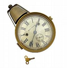 A SETH THOMAS BRASS CASED SHIP'S CLOCK WITH EXTERNAL BELL