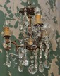 A SMALL THREE-BRANCH GLASS CHANDELIER