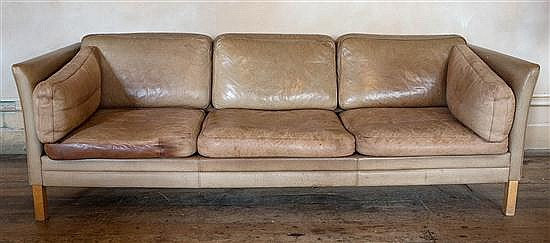 A DANISH THREE-SEATER SOFA IN TAN LEATHER