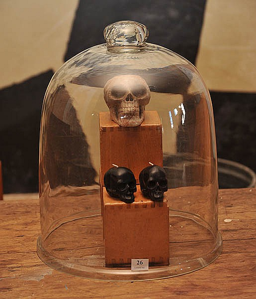 A GROUP OF ITEMS INCLUDING BLOCKS, SKULLS AND A BELL JAR