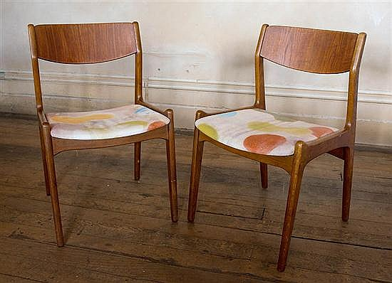 A PAIR OF DANISH DINING CHAIRS WITH HAND-PAINTED UPHOLSTERY BY DAVID BROMLEY