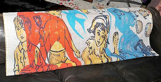 A DAVID BROMLEY COTTON THROW WITH A DEPICTION OF CHILDREN AT PLAY