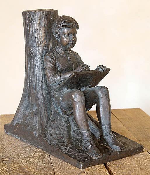 DAVID BROMLEY (BORN 1960) Reading Boy cast bronze