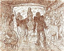 DONALD FRIEND (1915-1989) No Room at the Inn etching 24/50
