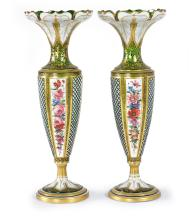 A PAIR OF BOHEMIAN PAINTED AND OVERLAID GREEN GLASS VASES