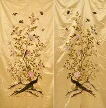 A PAIR OF LARGE CHINESE SILK EMBROIDERIES 19TH CENTURY