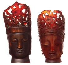 TWO 19TH CENTURY CARVED HORN BUDDHA HEADS