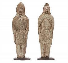 A RARE PAIR OF CHINESE FIGURINES, MING DYNASTY