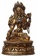 A TIBETAN GILT BRONZE WHITE TARA, 16TH CENTURY