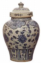 A BLUE AND WHITE PORCELAIN JAR, MING PERIOD