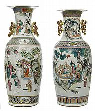 A PAIR OF LARGE CHINESE FAMILLE ROSE PORCELAIN VASES, LATE 19TH EARLY 20TH