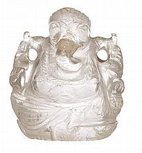 AN INDIAN ROCK CRYSTAL FIGURE OF GANESH, EARLY 20TH CENTURY
