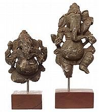 TWO INDIAN CARVED STONE FIGURES OF GANESH, 18TH AND 19TH CENTURY