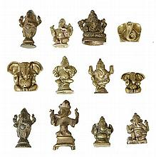 A GROUP OF INDIAN BRONZE FIGURES OF GANESH, 19TH CENTURY AND LATER