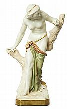 AN ROYAL WORCESTER 'BATHER SURPRISED' PORCELAIN FIGURE, MODELLED BY SIR THOMAS BROCK, DATED 1935