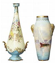 A ROYAL DOULTON EGYPTIAN REVIVAL VASE BY H.ALLEN, CIRCA 1910, TOGETHER WITH A VASE BY J.PRICE