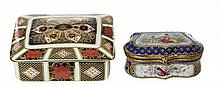 A JEWELLED PARIS PORCELAIN 'SEVRES' BOX, WITH A ROYAL CROWN DERBY PORCELAIN TRINKET BOX