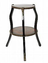 A VICTORIAN EBONISED MARQUETRY OCCASIONAL TABLE