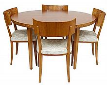 A SWEDISH DINING SET OF FOUR CHAIRS AND AN EXTENSION 'FLOREN' TABLE CIRCA 1929, DESIGNED BY CARL MALMSTEN (1888–1972)