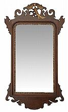 A 19TH CENTURY GEORGE II STYLE WALNUT & PARCEL GILT WALL MIRROR, SECOND HALF OF THE 19TH CENTURY