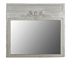A 19TH CENTURY FRENCH WHITE PAINTED OAK TRUMEAU MIRROR