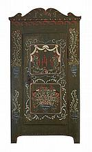 A 19TH CENTURY SWISS PAINTED PINE HALL CUPBOARD, DATED 1842
