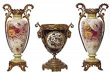 A PAIR OF ROYAL BONN VASES, WITH A 'SEVRES' CENTRE BOWL