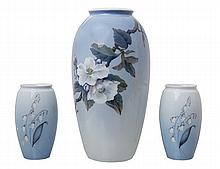 A ROYAL COPENHAGEN VASE, WITH TWO BING AND GRONDAHL VASES