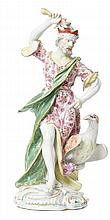 A LARGE DERBY PORCELAIN FIGURE OF JUPITER WITH EAGLE, CIRCA 1765-1770