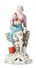 A DERBY PORCELAIN FIGURE OF A GARDENER, CIRCA 1765-1770