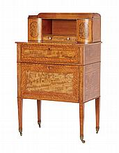 A GEORGE III SATINWOOD AND SABICU BONHEUR-DU-JOUR, ATTRIBUTED TO GEORGE SIMSON, CIRCA 1790