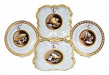 AN IMPORTANT BARR FLIGHT AND BARR WORCESTER PORCELAIN, MARBLED AND SHELL DECORATED, SET OF FOUR DISHES, MADE FOR THE GORDON FAMILY, BY JOHN BARKER, 1812