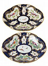 A FINE PAIR OF WORCESTER DR WALL PORCELAIN DISHES, CIRCA 1780