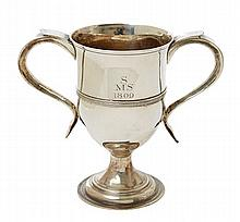A GEORGE III SILVER TWIN HANDLED PRESENTATION CUP BY PETER, ANN AND WILLIAM BATEMAN, LONDON 1802