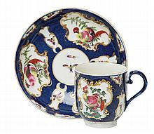 A WORCESTER DR WALL PORCELAIN CUP AND SAUCER, CIRCA 1768 WITH A WORCESTER DR WALL PORCELAIN DISH, CIRCA 1770-1780