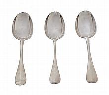 THREE GEORGE III SCOTTISH SILVER HANOVERIAN TABLESPOONS BY MILNE AND CAMPBELL 1757-1780