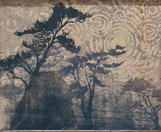 LESBIA THORPE (BORN 1919) Mist on Mt Rokko woodcut 3/12