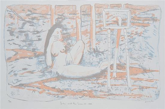 CLIFTON PUGH (1924-1990) Leda and the Swan II 1989 lithograph 5/97
