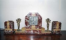 A THREE PIECE ART DECO MARBLE CLOCK GARNITURE
