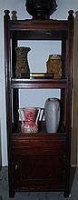A PAIR OF OPEN SHELF ONE DOOR SIDE CUPBOARDS, 35 x 103 x 30