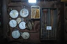 A QUANTITY OF PLATED POCKET WATCHES AND STAMP SET, WITH GOLD PLATED NIBS