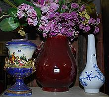TWO CHINESE PORCELAIN VASES AND AN ENGLISH VASE WITH FLOWERS