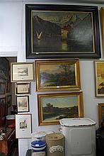 A QUANTITY OF SEVEN FRAMED PAINTINGS AND PRINTS
