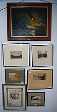 A QUANTITY OF SEVEN FRAMED ETCHINGS AND PAINTINGS