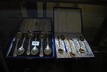 TWO STERLING SILVER SETS OF SPOONS IN PRESENTATION BOX