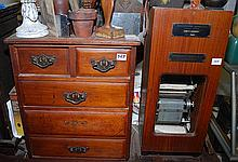 A RECORDING AMMETER AND A FIVE DRAWER MINIATURE CHEST
