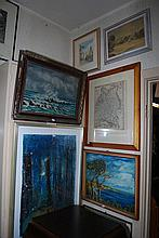 A QUANTITY OF SEVEN FRAMED OIL PAINTING
