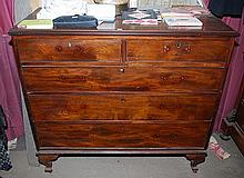 A FIVE DRAWER MAHOGANY CHEST OF DRAWERS, (MISSING HANDLES) 120 x 108 x 57