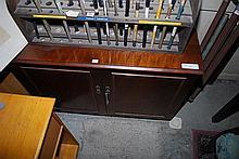 A TWO DOOR MAHOGANY RECORD CUPBOARD, 90 x 66 x 43